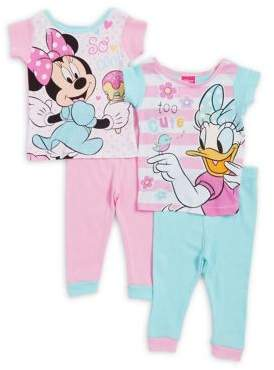 AME Sleepwear Little Girl' Minnie and Daisy Four-Piece Cotton Top and Pants Set