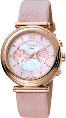 Ferré Milano Women's 36mm Stainless Steel Day/Date Watch with Leather Strap, Rose/Pink