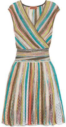 Missoni Wrap-effect Striped Metallic Crochet-knit Mini Dress - Blue