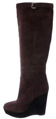 Prada Knee-High Wedge Boots Knee-High Wedge Boots