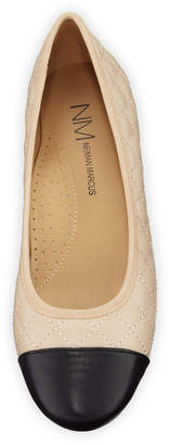 Neiman Marcus Sedy Quilted Napa Leather Ballet Flats, Beige