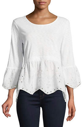 Style&Co. STYLE & CO. Scalloped Hem Bell Sleeve Top