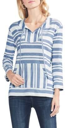 Vince Camuto Variegated Stripe Cotton Blend Drawstring Top