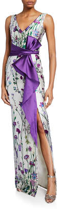 Marchesa Floral-Print V-Neck Sleeveless Mikado Gown w/ Front Slit & Draped Belt