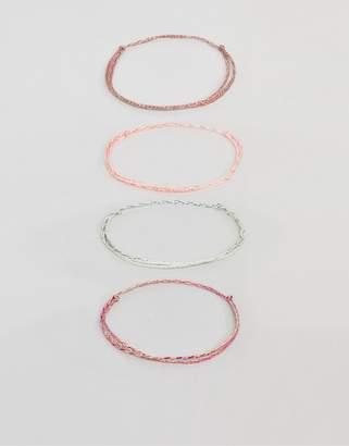 Asos DESIGN plaited woven bracelet pack in pink