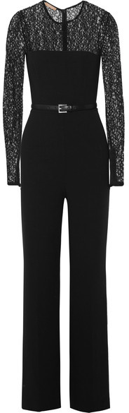 Michael Kors Collection - Lace-paneled Wool-blend Jumpsuit - Black