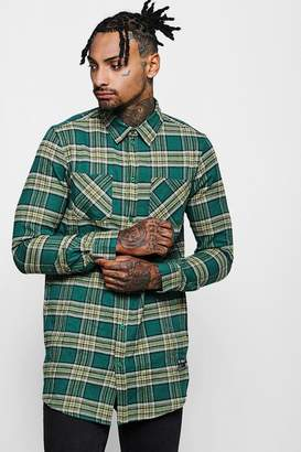 boohoo Longline Long Sleeve Check Shirt With Patch