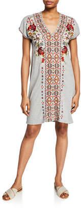 Johnny Was Plus Size Beatriz Embroidered V-Neck Short-Sleeve Easy Tunic Dress