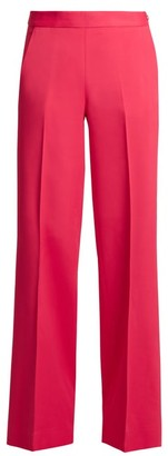 Oscar de la Renta High Rise Wide Leg Stretch Cady Trousers - Womens - Pink