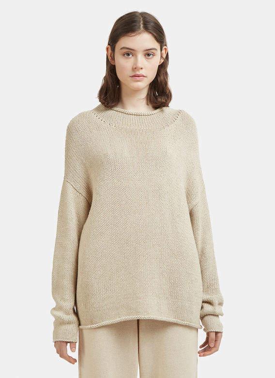 Roll Neck Sweater in Beige