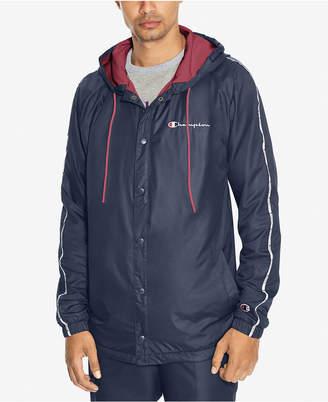 Champion Men's Snap-Front Hooded Satin Jacket