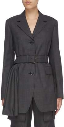 Prada Belted asymmetric pleated drape check plaid wool blazer