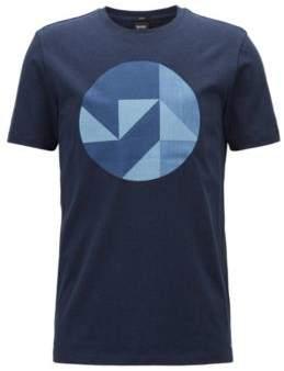 BOSS Hugo Slim-fit cotton T-shirt Anni Albers-inspired artwork L Open Blue