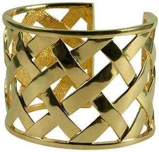 Kenneth Jay Lane basket Weave Cuff Bracelet- 14kt Plate