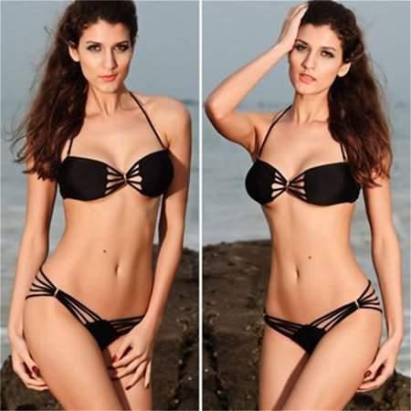 Greengrass Bikini Set Two Pieces Sexy Neck Bound Padded Fringe Straps Strapless Dolly Bikini Swimwear Bathing Suit Black