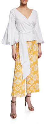 Almeria Mestiza New York Puff-Sleeve Wrap Cotton Blouse