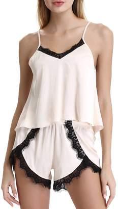 Women's Satin Camisole Sleepwear Pajama Set Loungewear Nightwear by NORA TWIPS(,XL)