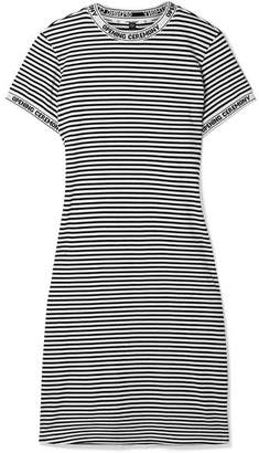 Opening Ceremony Intarsia-trimmed Striped Cotton-jersey Dress - White
