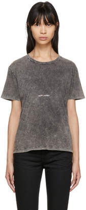Saint Laurent Grey Destroyed Vintage Rive Gauche Volume T-Shirt
