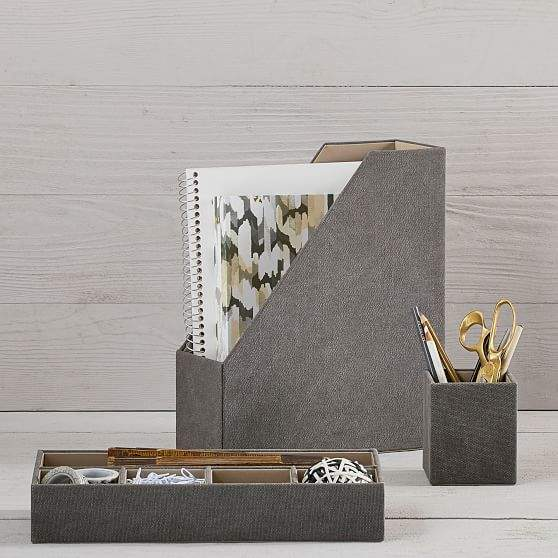 Fabric Desk Accessories, Northfield Solid Charcoal