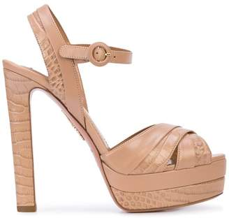 Aquazzura crocodile-effect platform sandals