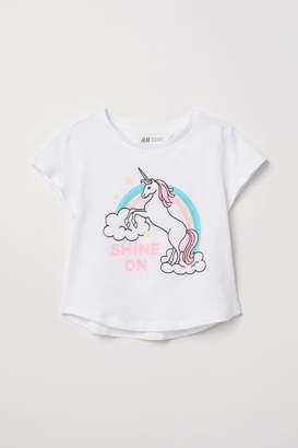 H&M Glitter-print T-shirt - White