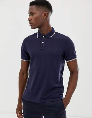 J.Crew Mercantile slim fit tipped pique polo in navy