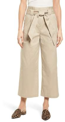 Halogen Paperbag Waist Belted Wide Leg Crop Pants