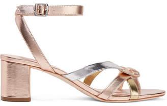 Loeffler Randall Anny Bow-detailed Metallic Leather Sandals
