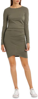 Miss Shop Ruched Long Sleeve Wrap Dress