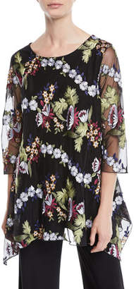 Caroline Rose 3/4-Sleeve Floral-Embroidered Mesh Lined Tunic, Petite