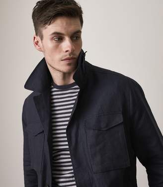 Reiss HIGHBURY Linen Field Jacket Indigo