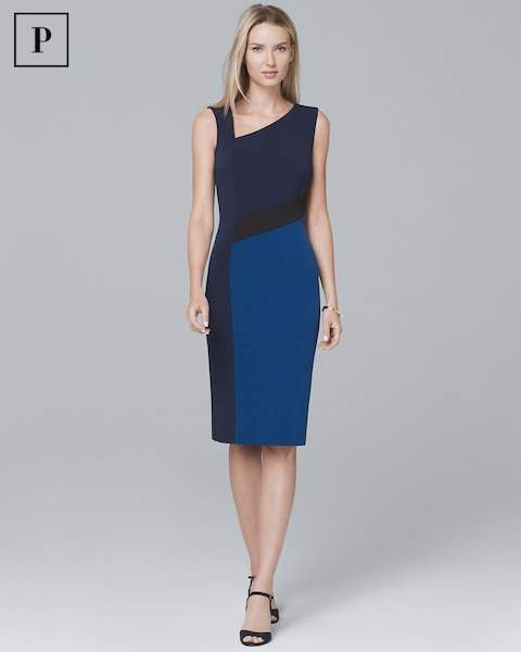 Whbm Petite Sleeveless Colorblock Sheath Dress