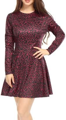 Allegra K Women Leopard Prints Long Sleeves Above Knee A Line Dress M
