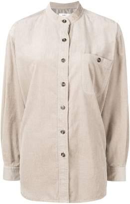 Closed band collar corduroy shirt