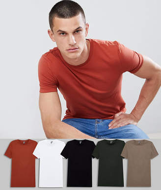 Asos Design DESIGN muscle fit t-shirt with crew neck and stretch 5 pack MULTIPACK SAVING