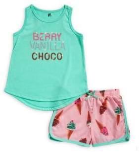 Petit Lem Little Girl's and Girl's Two-Piece Ice Cream Pajama Set
