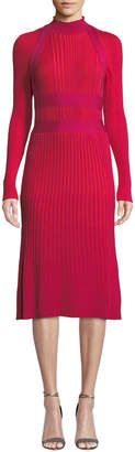 Cédric Charlier Mock-Neck Long-Sleeve Ribbed Wool A-Line Dress