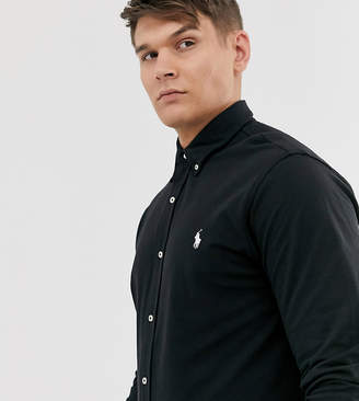 Polo Ralph Lauren Big & Tall icon logo button down pique shirt in polo black