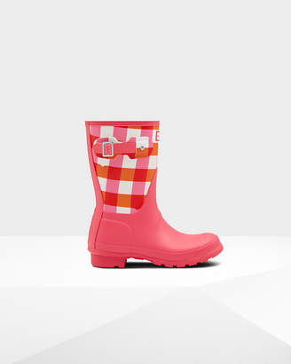 Hunter women's original short gingham print wellington boots