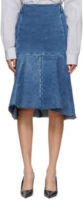 Balenciaga Blue Denim Godet Skirt