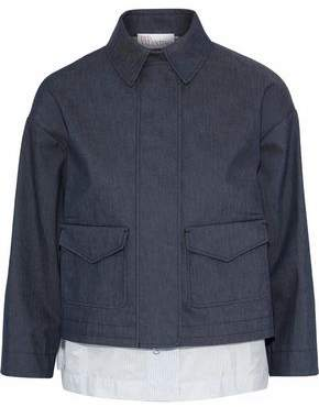 RED Valentino Layered Denim And Striped Cotton-Blend Poplin Jacket