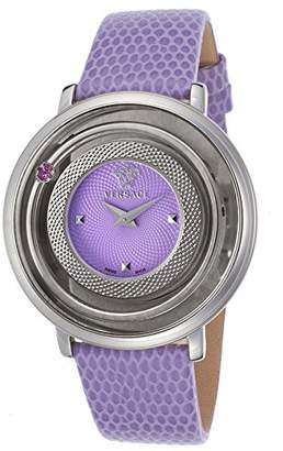 Versace Vfh14-0014 Women's Venus Purple Genuine Leather And Dial Stainless Steel Watch