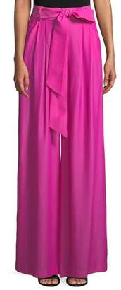 Milly Natalie Wide-Leg Pant with Self-Tie Belt