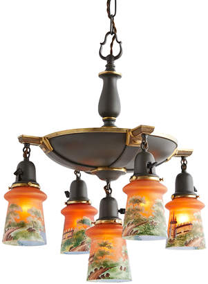 Rejuvenation Suspended Pan Chandelier w/ Hand-painted Sunset Shades