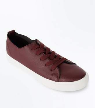 New Look Burgundy Lace Up Trainers