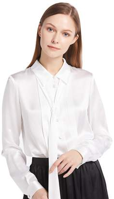 LILYSILK Button Front Pleated 18MM Silk Blouses L