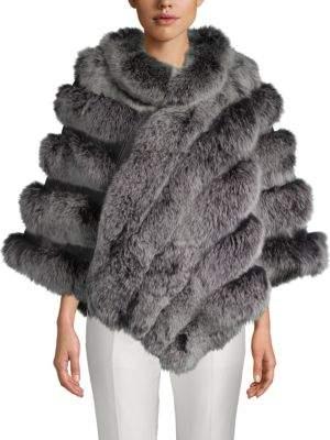 Dyed Fox Fur Asymmetric Poncho