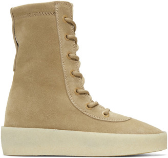 YEEZY Taupe Suede Crepe Boots $595 thestylecure.com