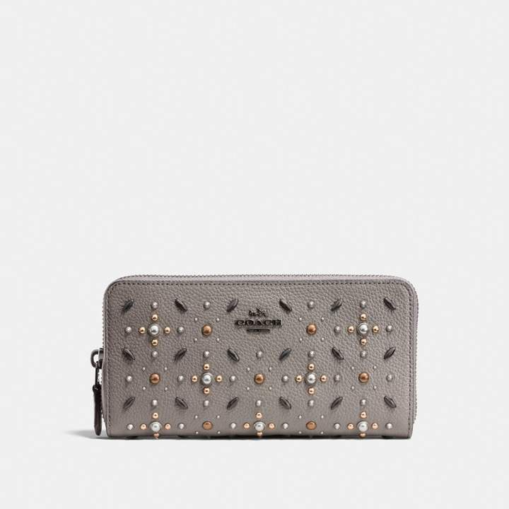 Coach New YorkCoach Accordion Zip Wallet With Prairie Rivets - HEATHER GREY/DARK GUNMETAL - STYLE